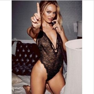 NEW VS Strappy Fishnet Chantilly Lace Thong Teddy